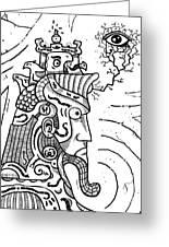 Surrealism Illuminati Black And White Greeting Card