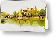 Illustration Of Amstradam In Watercolour Greeting Card