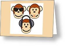 Illustration Of Cartoon Three Monkeys See Hear Speak No Evil Greeting Card