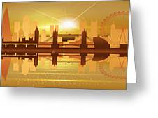 Illustration Of City Skyline - London  Sunset Panorama Greeting Card