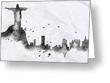 Illustration Of City Skyline - Rio De Janeiro In Chinese Ink Greeting Card