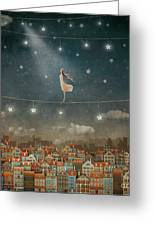 Illustration Of  Cute Houses And  Pretty Girl   In Night Sky Greeting Card