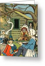 Illustration Of The First Thanksgiving Greeting Card