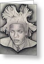 Immortalizing In Stone Jean Michel Basquiat Drawing Greeting Card