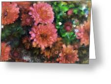 Bronze And Pink Mums Greeting Card
