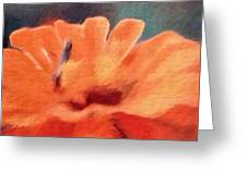 Impressionist Painting Of An Orange Mum Greeting Card