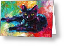Impressionistic Black Cat Painting 2 Greeting Card