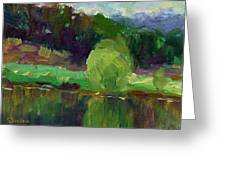 Impressionistic Oil Landscape Lake Painting Greeting Card
