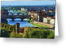 Impressions Of Florence - Long Blue Shadows On The Arno River Greeting Card