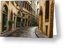 Impressions Of Florence - Walking On The Silver Street In The Rain Greeting Card