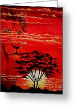 In An Arfican Sunset Greeting Card