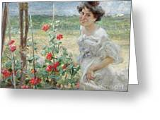 In The Flower Garden, 1899 Greeting Card
