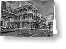 In The French Quarter - 3 Bw Greeting Card