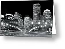In The Heart Of A Black And White Town Greeting Card