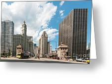 In The Middle Of Wacker And Michigan Greeting Card