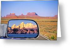 In The Rear View Mirror Greeting Card