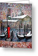 In The Snow In Venice Greeting Card