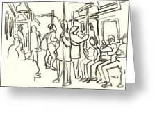 In The Subway, Nyc Greeting Card