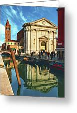 In The Waters Of The Many Venetian Canals Reflected The Majestic Cathedrals, Towers And Bridges Greeting Card
