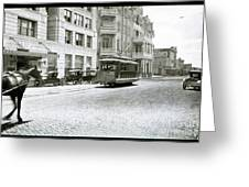 In This 1913 Photo, A Cable Car Drives Past The Littlefield Building And Dristill Hotel On Sixth Str Greeting Card