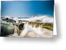 Incoming  La Jolla Rock Formations Greeting Card