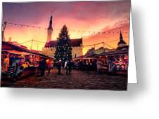 Incredible Christmas Market In Tallinn, Estonia Greeting Card