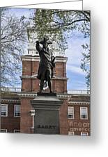 Independence Hall And Commodore Barry Greeting Card