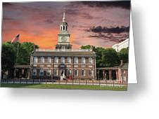 Independence Hall Philadelphia Sunset Greeting Card