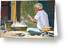 India - Street Side Cooking Greeting Card