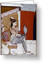India: Lady & Hawk, C1570 Greeting Card