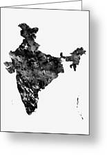 Map Of India-black Greeting Card
