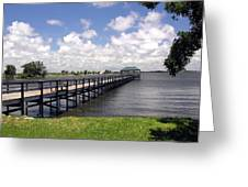 Indialantic Pier On The Indian River Lagoon In Central Florida Greeting Card