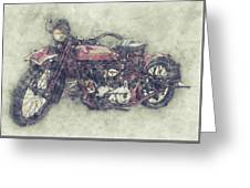 Indian Chief 1 - 1922 - Vintage Motorcycle Poster - Automotive Art Greeting Card
