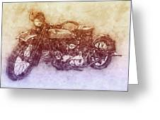 Indian Chief 2 - 1922 - Vintage Motorcycle Poster - Automotive Art Greeting Card