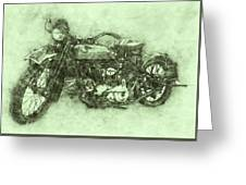 Indian Chief 3 - 1922 - Vintage Motorcycle Poster - Automotive Art Greeting Card