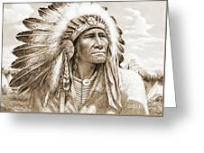 Indian Chief With Headdress Greeting Card