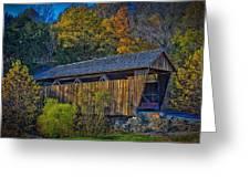 Indian Creek Covered Bridge In Fall Greeting Card