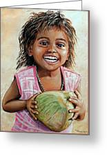 Indian Girl From The Slums Greeting Card by Mary Susanna Turcotte