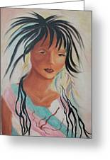 Indian Girl Greeting Card by Suzanne  Marie Leclair