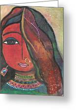 Indian Girl With Nose Ring Greeting Card