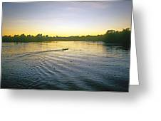Indian In Dugout Canoe Greeting Card