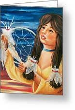Indian Maiden With Dream Catcher Greeting Card