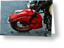 Indian Motorcycle Fender In Red Greeting Card