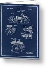 Indian Motorcycle Patent 1943 Blue Greeting Card