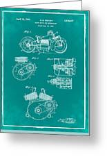 Indian Motorcycle Patent 1943 Green Greeting Card