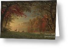 Indian Sunset Deer By A Lake Greeting Card