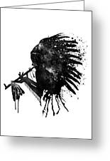 Indian With Headdress Black And White Silhouette Greeting Card
