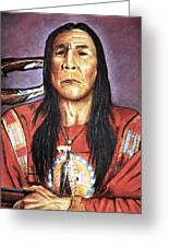 Indian With Rifle Greeting Card by Martin Howard