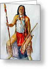 Indian With Spear And Arrows Greeting Card
