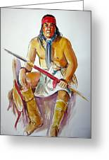 Indian With Spear Greeting Card